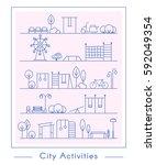 vector city activities... | Shutterstock .eps vector #592049354