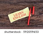 learn english words on paper... | Shutterstock . vector #592059653