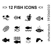 set of fish vector icon... | Shutterstock .eps vector #592066010
