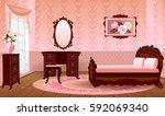 cartoon room interior in... | Shutterstock .eps vector #592069340