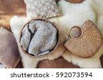 wicker storage basket with... | Shutterstock . vector #592073594
