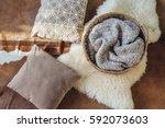 wicker storage basket with... | Shutterstock . vector #592073603