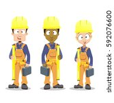 industrial contractors workers... | Shutterstock .eps vector #592076600