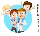 happy family with arms up  ... | Shutterstock .eps vector #592076750