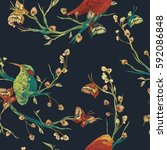 vintage seamless pattern  bird  ...   Shutterstock .eps vector #592086848