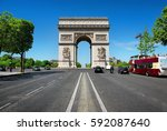 road of champs elysee leading... | Shutterstock . vector #592087640