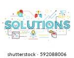 solutions word lettering... | Shutterstock .eps vector #592088006