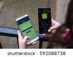 facebook against snapchat ... | Shutterstock . vector #592088738