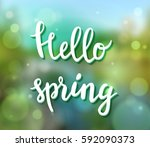 hello spring poster with... | Shutterstock .eps vector #592090373