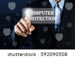 business man pointing hand on...   Shutterstock . vector #592090508