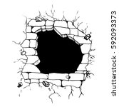 hand drawn sketch hole in the... | Shutterstock .eps vector #592093373