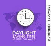 daylight saving time poster or... | Shutterstock .eps vector #592094819