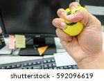 stress office man squeeze the... | Shutterstock . vector #592096619