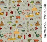 tibet travel vector pattern. | Shutterstock .eps vector #592097030