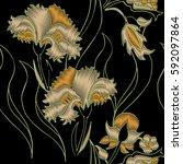 embroidery flower design...   Shutterstock .eps vector #592097864