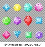 gems isolated on a transparent... | Shutterstock .eps vector #592107560