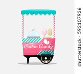 cotton candy cart  kiosk on... | Shutterstock .eps vector #592107926