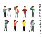 set of cameraman and... | Shutterstock .eps vector #592112684