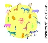 wild animals of africa. vector... | Shutterstock .eps vector #592112834
