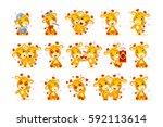 set vector stock isolated emoji ... | Shutterstock .eps vector #592113614