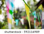 festive colorful flags in the... | Shutterstock . vector #592116989