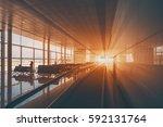 moving walkway in modern... | Shutterstock . vector #592131764