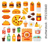 set of colorful cartoon fast...   Shutterstock .eps vector #592133660