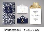 set of wedding invitation... | Shutterstock .eps vector #592139129