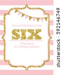 birthday card invitation is... | Shutterstock .eps vector #592146749