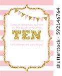 birthday card invitation is... | Shutterstock .eps vector #592146764