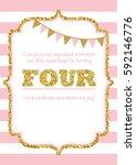 birthday card invitation is... | Shutterstock .eps vector #592146776