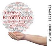 concept conceptual e commerce... | Shutterstock . vector #592149638