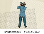retro photo journalist paparazzi | Shutterstock .eps vector #592150160