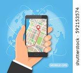 mobile gps navigation and... | Shutterstock .eps vector #592153574