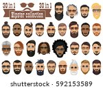 superset of 30 hipsters bearded ... | Shutterstock .eps vector #592153589