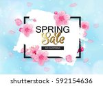 spring sale vector banner... | Shutterstock .eps vector #592154636