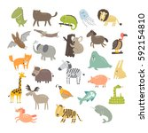 cute vector animals. cat  dog ... | Shutterstock .eps vector #592154810