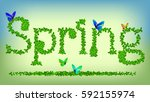 beautiful spring background.... | Shutterstock .eps vector #592155974