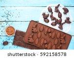 cooking homemade chocolate...   Shutterstock . vector #592158578