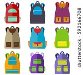 school bag  set of school... | Shutterstock .eps vector #592166708