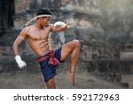 martial arts of muay thai thai... | Shutterstock . vector #592172963