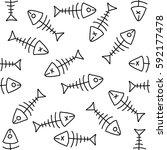 doodle pattern of fish skeleton ... | Shutterstock .eps vector #592177478