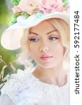 portrait of beautiful woman in... | Shutterstock . vector #592177484