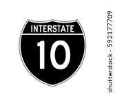 interstate highway 10 road sign.... | Shutterstock .eps vector #592177709