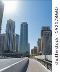 streets of dubai with huge...   Shutterstock . vector #592178660
