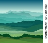 flat landscape illustration.... | Shutterstock .eps vector #592186400