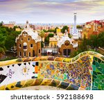 view of park guell in barcelona ... | Shutterstock . vector #592188698