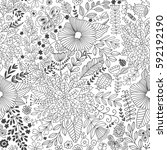vector flower pattern. seamless ... | Shutterstock .eps vector #592192190