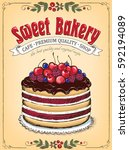 berry cake with chocolate.... | Shutterstock .eps vector #592194089