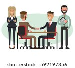 people at work with handshaking ...   Shutterstock .eps vector #592197356